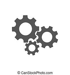 ingranaggio, semplice, tre, segno, fondo, bianco, icona