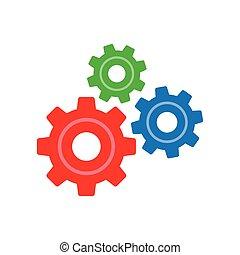 ingranaggio, semplice, tre, segno, fondo, icona