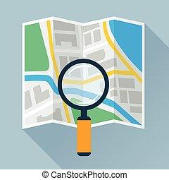 ingrandendo, piegatura, appartamento, vetro, mappa, sopra, icona