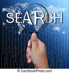 ingrandendo, rete, ricerca, fondo, vetro, parola