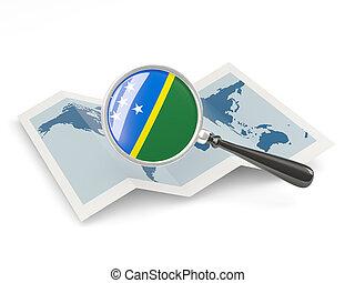ingrandito, bandiera, di, isole solomon, con, mappa