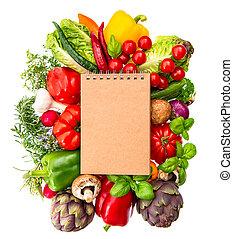 ingred, gezonde , groentes, recept, voedingsmiddelen, boek, herbs., fris