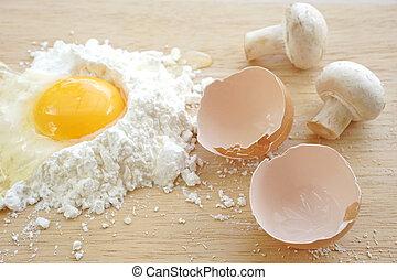 ingrediant, hongos, cocina, huevos, sémola, harina, bio