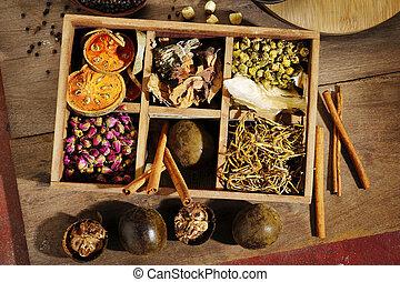ingrediens, by, kinesisk herbal lægekunst