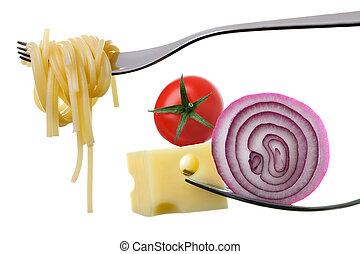 ingredienser, mat, mot, vägskäl, vit, italiensk