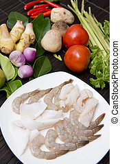 ingredient for cooking tom yum goong, Thai food
