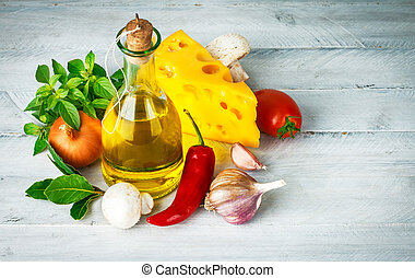 Ingredient for italian food with herbs