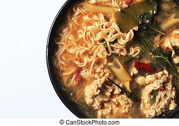 ingredient tomyum noodle - close up ingredient tomyum soup ...