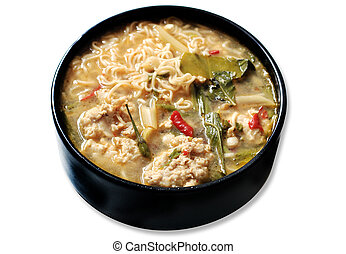 ingredient tomyum noodle - noodle tomyum Thai food on white ...