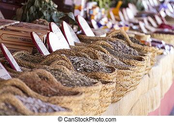 Ingredient, wicker baskets stuffed medicinal healing herbs