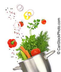 ingredienten, pot, het koken, vrijstaand, groente, fris, witte