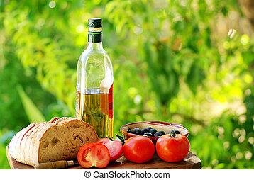 ingredienten, van, het middellandse zee, keuken