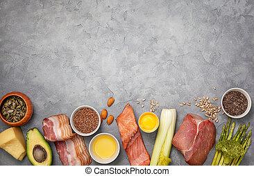 ingredienten, voor, ketogenic, dieet