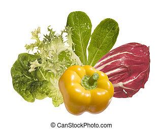 ingredienten, vrijstaand, groentes