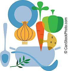 ingredientes, de, gostoso, legumes, sopa