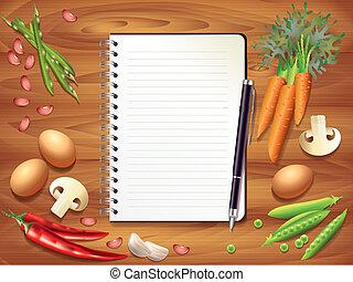 ingredientes, de madera, receta, alimento, libro, tabla, ...