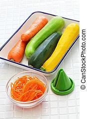 ingredientes, de, vegetal, noodles