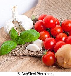 ingredientes frescos pasta, com, manjericão