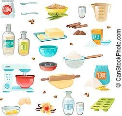 ingredientes, hornada, coloreado, iconos