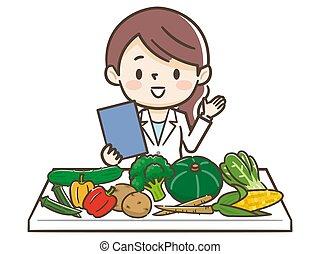 ingredientes, nutricionista, mujer, joven
