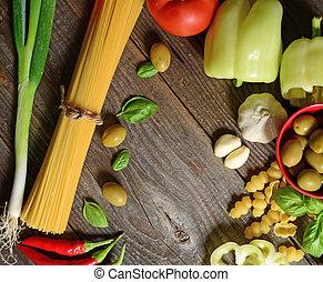 ingredientes, para, bolognese espaguete, ligado, madeira, fundo