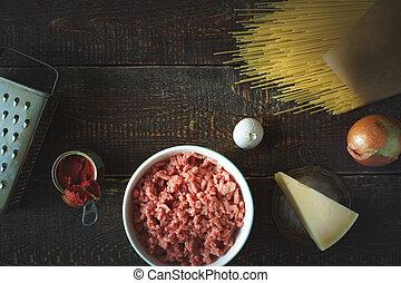 ingredientes, para, espaguete, com, almôndega, ligado, a, madeira, fundo, horizontais