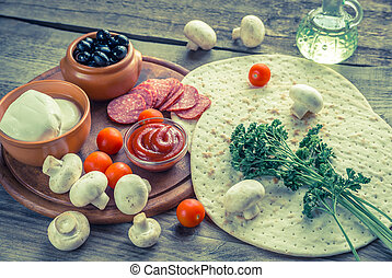 ingredientes, para, pizza, ligado, a, madeira, fundo