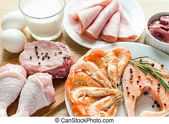 ingredientes, para, proteína, dieta