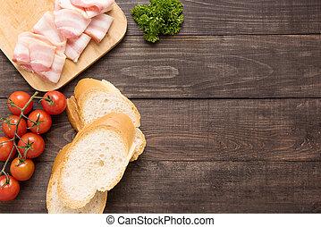 ingredientes, para, sanduíche, ligado, madeira, fundo