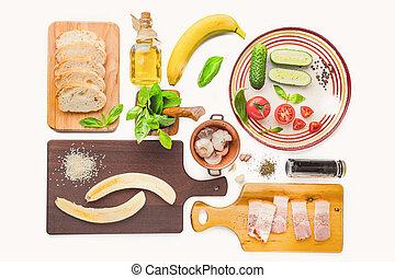 ingredientes, para, tartines, ligado, a, fundo branco