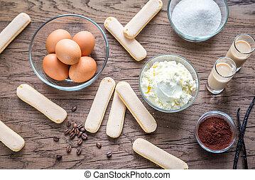 ingredientes, para, tiramisu, ligado, a, madeira, fundo