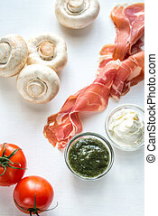 ingredienti, per, fungo, hamburger