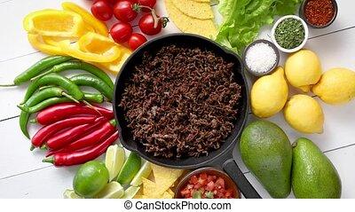 ingredients, деревянный, carne, железо, таблица, frying,...