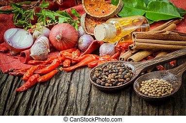 ingredients., alimento, cocina, -, tailandés, tast, especia