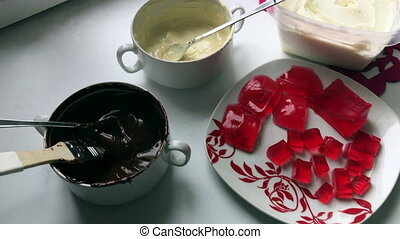 Ingredients and utensils for making glazed curd bars.