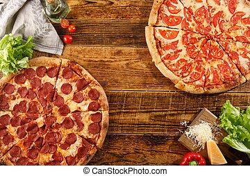 ingredients., bois, pizza, margarita, vie, table., encore, pepperoni