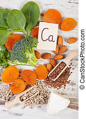 Ingredients containing calcium and dietary fiber, healthy...
