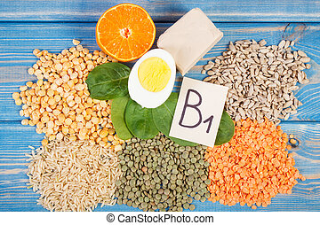 Ingredients containing vitamin B1 and dietary fiber, healthy...