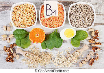 Ingredients containing vitamin B1 and fiber, healthy ...