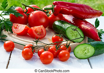 Ingredients for a fresh healthy salad