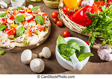 Ingredients for a healthy pizza