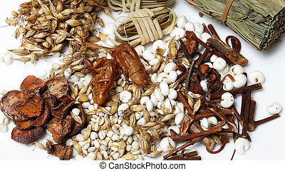 Ingredients for Asian tonic drink with exotic details