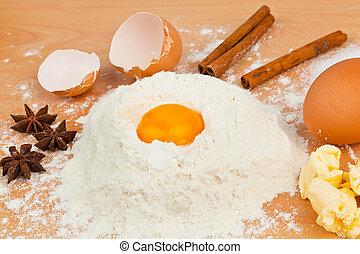 Ingredients for baking. Christmas baking