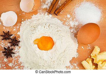 Ingredients for baking. Christmas baking.