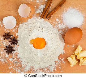ingredients for baking. christmas cookies