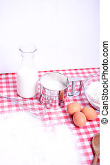 Ingredients for baking in kichen table