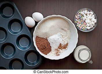 Ingredients for baking muffins on a