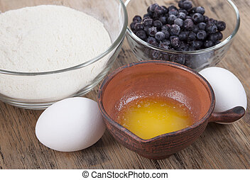 Ingredients for baking muffins