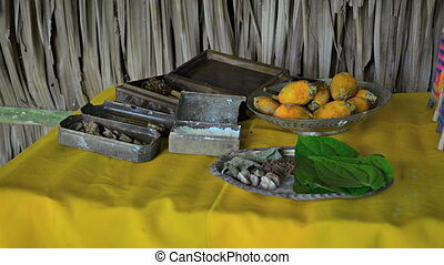Palm fruit, betel leaves, lime and other ingredients for the production of Betel chew. Video 1080p