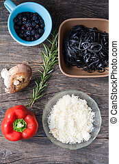 Ingredients for black pasta